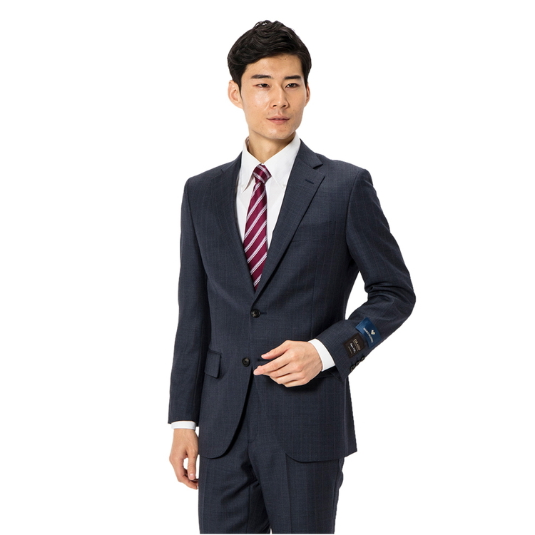 スーツ メンズ 背広 メンズスーツ 2つボタン 2ピース ノータック ブランド 高級生地 ストライプ ブルー 秋冬 ウール スタンダード MARIO VALENTINO マリオバレンチノ メンズファッション スーツのはるやま