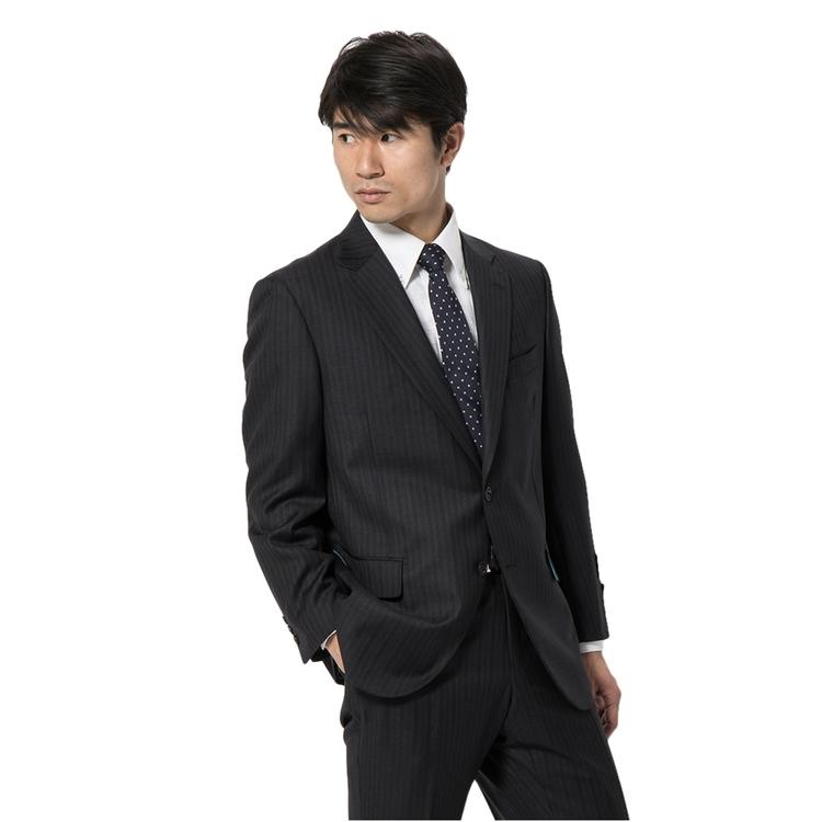 スーツ メンズ 背広 メンズスーツ 2つボタン 2ピース ノータック ブランド 高級生地 ストライプ グレー 秋冬 ウール スタンダード MARIO VALENTINO マリオバレンチノ メンズファッション スーツのはるやま