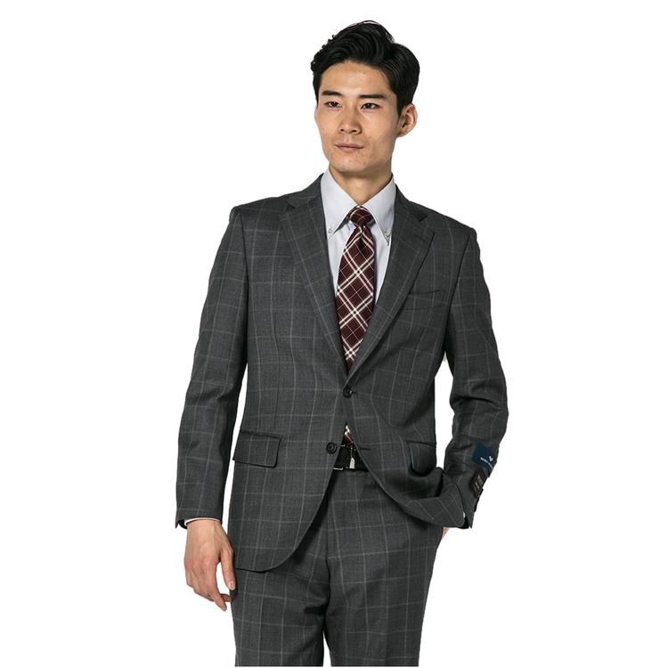 スーツ メンズ 背広 メンズスーツ 2つボタン 2ピース ノータック ブランド 高級生地 チェック グレー 秋冬 ウール スタンダード MARIO VALENTINO マリオバレンチノ メンズファッション スーツのはるやま