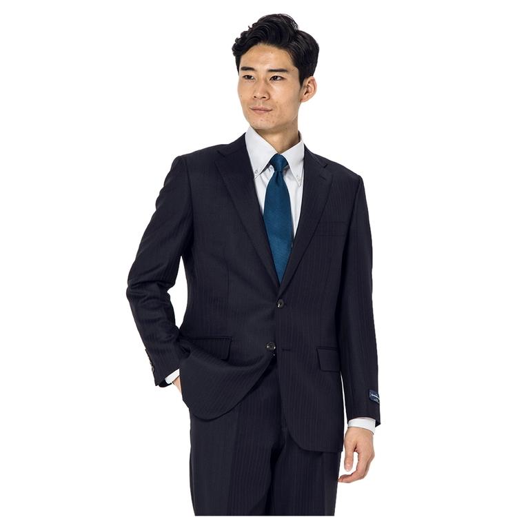 スーツ メンズ 背広 メンズスーツ 2つボタン 2ピース 高級生地 インポート ワンタック ストライプ ネービー 秋冬 ウール ゆったり RuckenBaccharEXE リッケンバッカーエグゼ メンズファッション スーツのはるやま