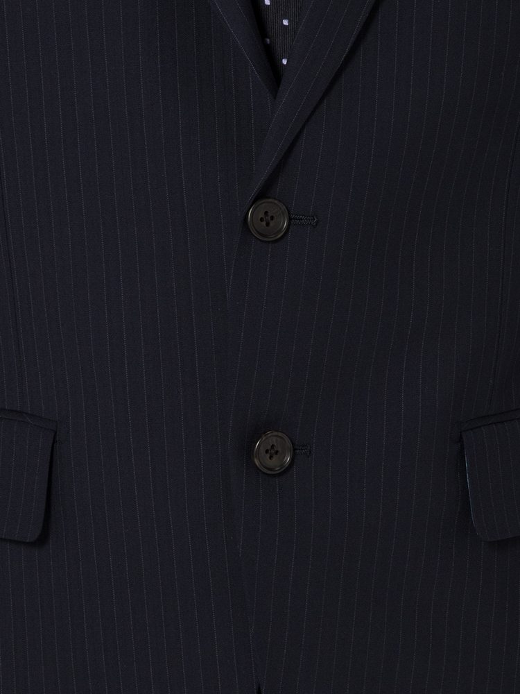 スーツ メンズ 背広 メンズスーツ 2つボタン 2ピース ノータック ブランド 高級生地 ストライプ ネービー 春夏 ウール スタンダード MARIO VALENTINO マリオバレンチノ メンズファッション スーツのはるやま