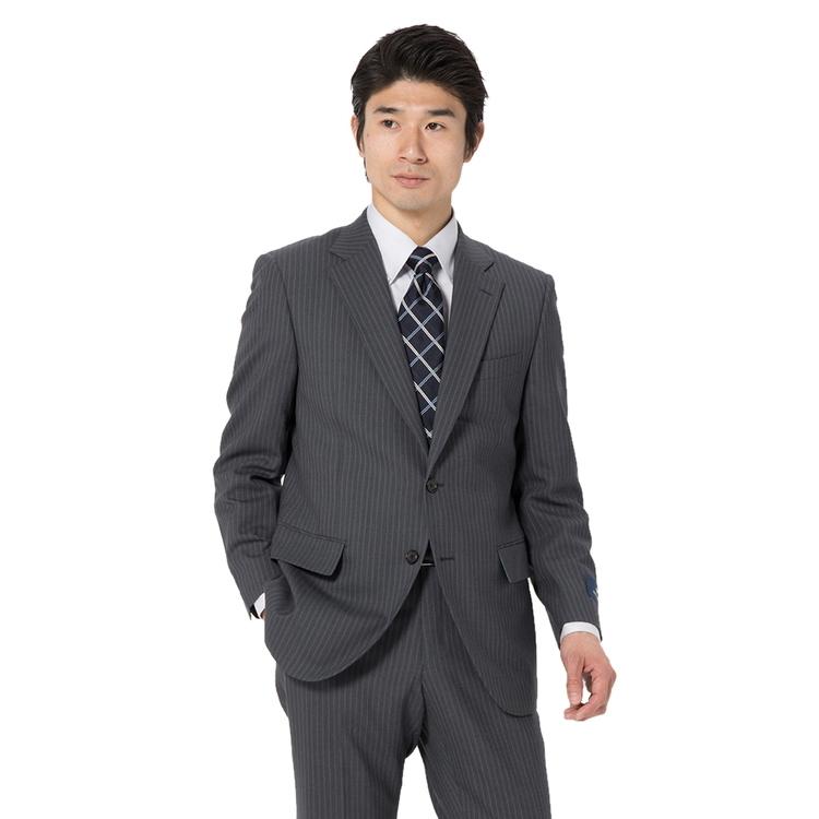 【値下げ】スーツ メンズ 背広 メンズスーツ 2つボタン 2ピース ノータック ブランド 高級生地 ストライプ グレー 春夏 ウール スタンダード MARIO VALENTINO マリオバレンチノ メンズファッション スーツのはるやま