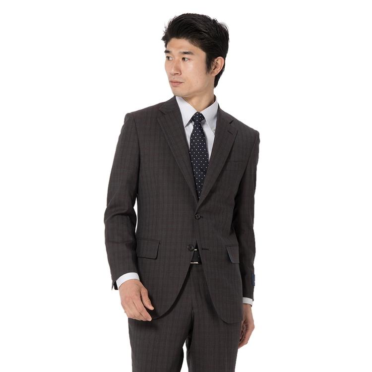 スーツ メンズ 背広 メンズスーツ 2つボタン 2ピース ノータック ブランド 高級生地 チェック ブラウン 春夏 ウール スタンダード MARIO VALENTINO マリオバレンチノ メンズファッション スーツのはるやま