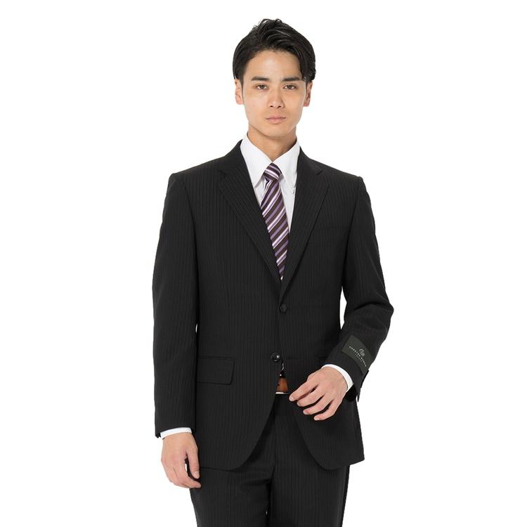 スーツ メンズ 背広 メンズスーツ 2つボタン 2ピース ブランド ノータック ストライプ ブラック 春夏 ウール ゆったり CHESTERBARRIE チェスターバリー メンズファッション スーツのはるやま