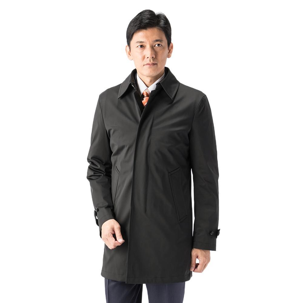 コート ステンカラーコート ブラック 無地 スリム RESPECTNERO ポリエステル ストレッチ 軽量 ニット素材 撥水加工