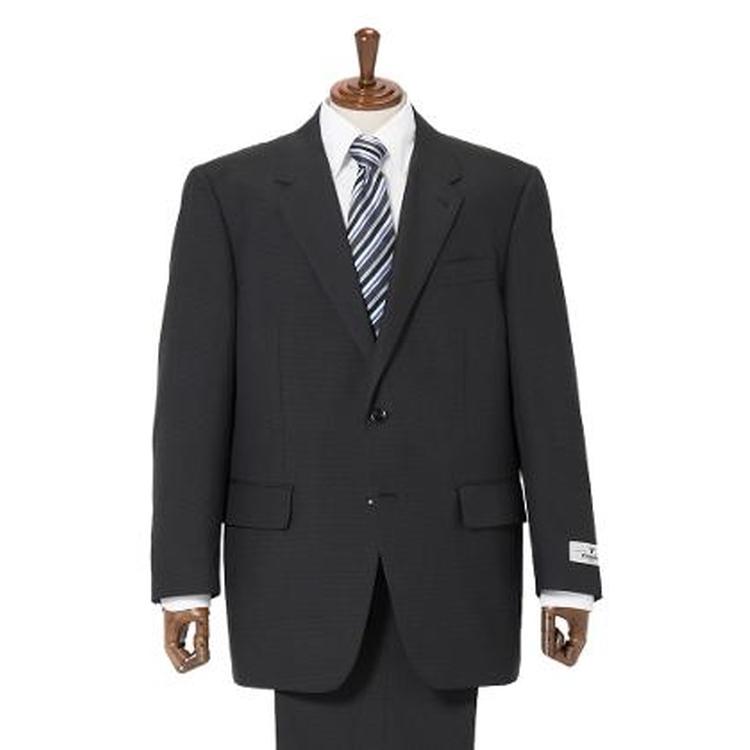 スーツ メンズ 背広 メンズスーツ 2つボタン 2ピース アジャスター ワンタック チェック ブラック 春夏 ウール混 ゆったり FIGARO PARIS フィガロ メンズファッション スーツのはるやま