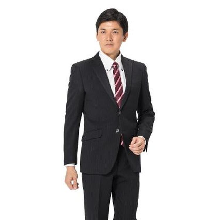 スーツ メンズ 背広 メンズスーツ 2つボタン 2ピース パンツウォッシャブル ノータック ストライプ ブラック 秋冬 ポリエステル スリム アンクルパンツ RESPECTNERO リスペクトネロ メンズファッション スーツのはるやま