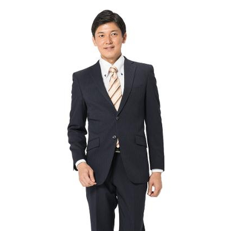 スーツ メンズ 背広 メンズスーツ 2つボタン 2ピース パンツウォッシャブル ノータック ストライプ ネービー 秋冬 ポリエステル スリム アンクルパンツ RESPECTNERO リスペクトネロ メンズファッション スーツのはるやま
