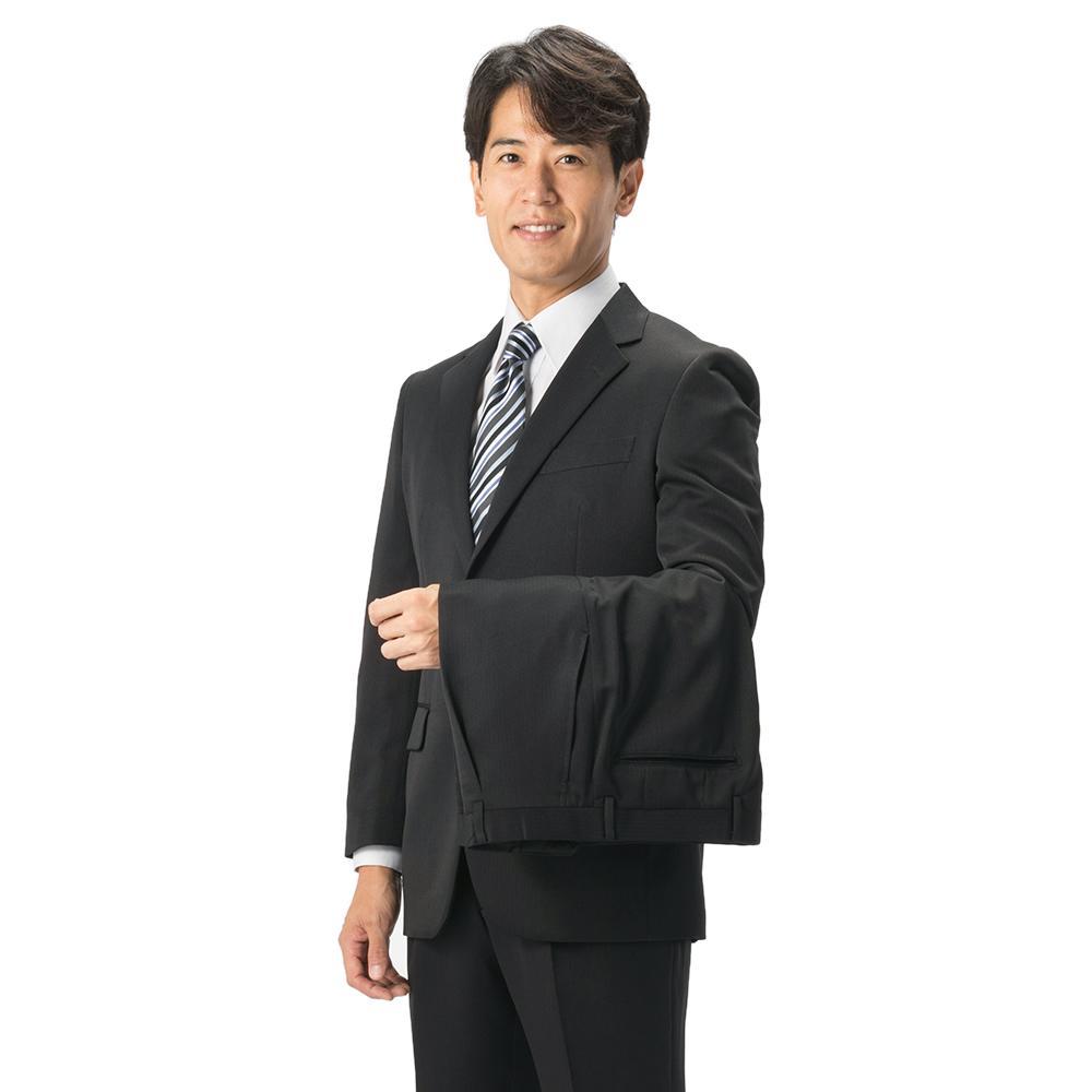 スーツ/2ピース/ゆったり/HuntleighClub/秋冬/ブラック/ストライプ/防シワ/ツーパンツ/パンツ洗濯可/