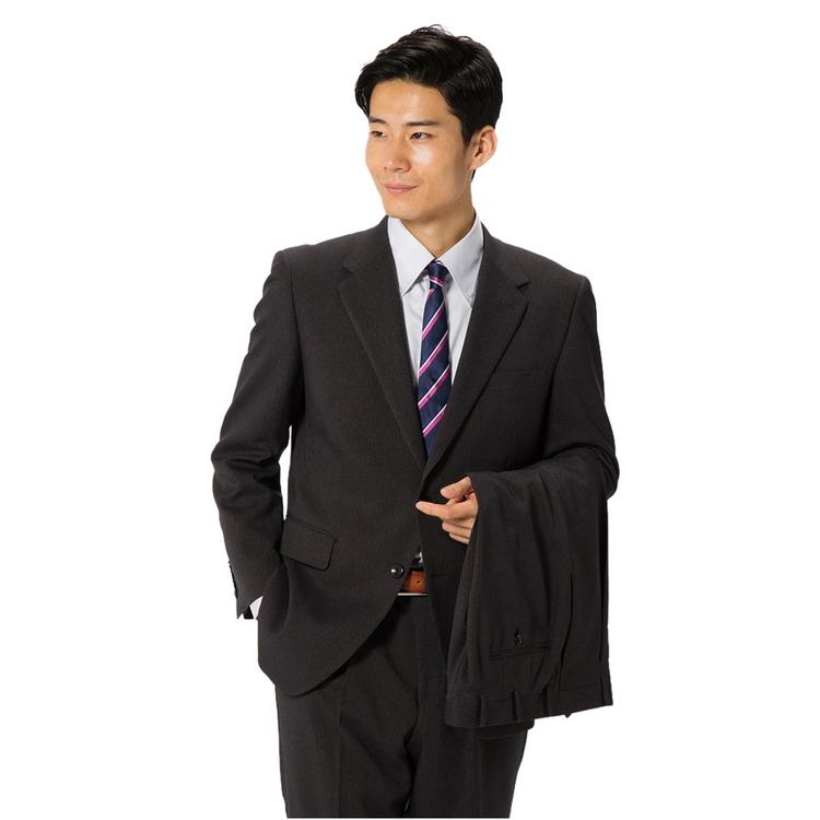 スーツ メンズ 背広 メンズスーツ 2つボタン 2ピース ツーパンツ パンツウォッシャブル ワンタック ストライプ グレー 秋冬 ポリエステル ゆったり FIGARO PARIS フィガロ メンズファッション スーツのはるやま