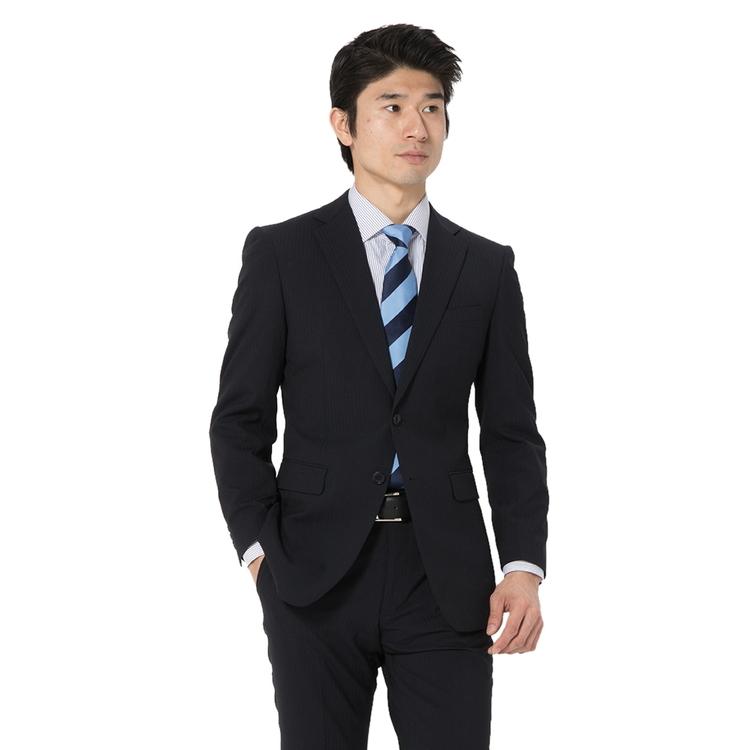 スーツ メンズ 背広 メンズスーツ 2つボタン 2ピース パンツウォッシャブル ノータック 防シワ ブランド ストライプ ネービー 春夏 ウール混 スリム PinkyWolman ピンキーウォルマン メンズファッション スーツのはるやま