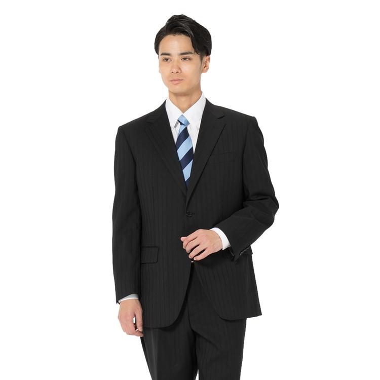スーツ メンズ 背広 メンズスーツ 2つボタン 2ピース パンツウォッシャブル ワンタック 防シワ シャドウストライプ ブラック 春夏 ウール混 ゆったり HuntleighClub ハントレークラブ メンズファッション スーツのはるやま