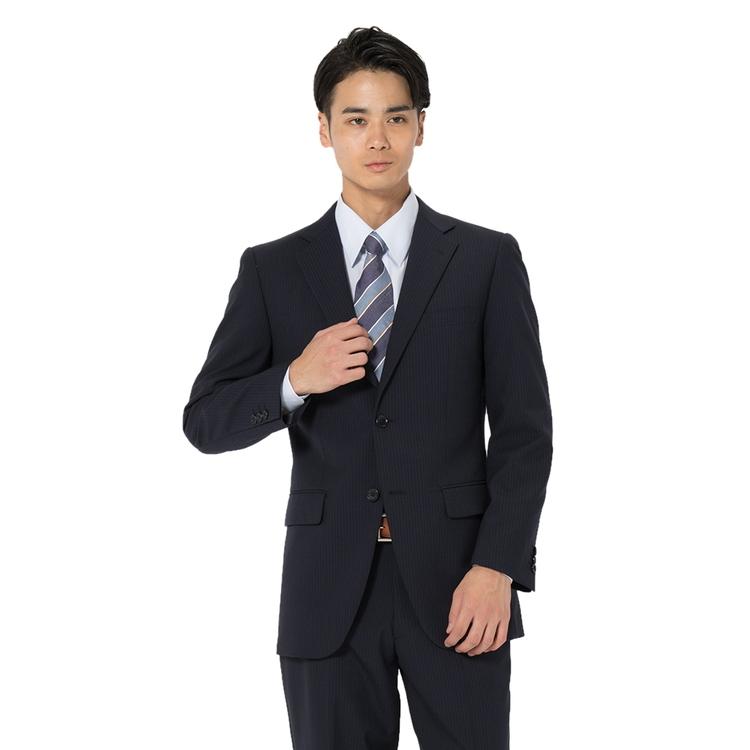 スーツ メンズ 背広 メンズスーツ 2つボタン 2ピース パンツウォッシャブル 防シワ ノータック ストライプ ネービー 春夏 ウール混 スタンダード ネット限定 フュージョンクラブ メンズファッション スーツのはるやま