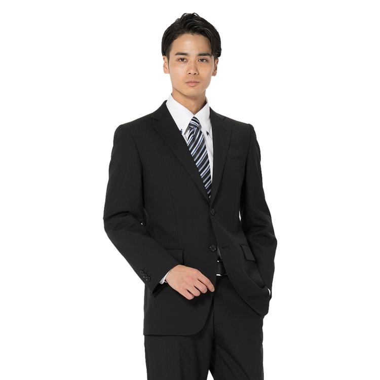 スーツ メンズ 背広 メンズスーツ 2つボタン 2ピース パンツウォッシャブル 防シワ ノータック ストライプ ブラック 春夏 ウール混 スタンダード ネット限定 フュージョンクラブ メンズファッション スーツのはるやま