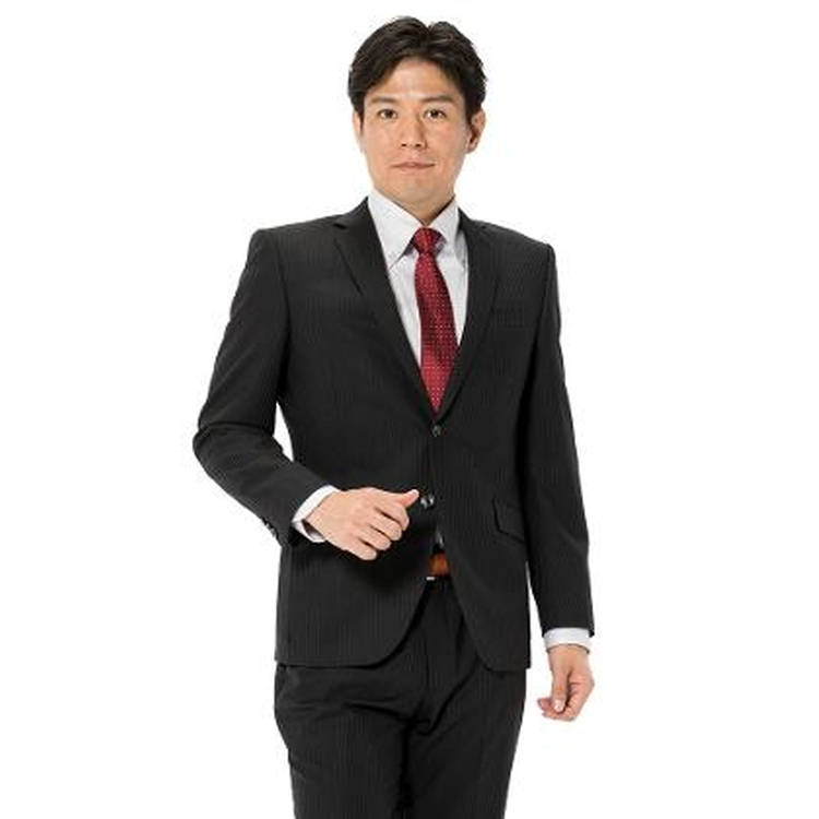 スーツ メンズ 背広 メンズスーツ 2つボタン 2ピース パンツウォッシャブル ノータック ストライプ グレー 秋冬 ウール混 スリム アンクルパンツ RESPECTNERO リスペクトネロ メンズファッション スーツのはるやま