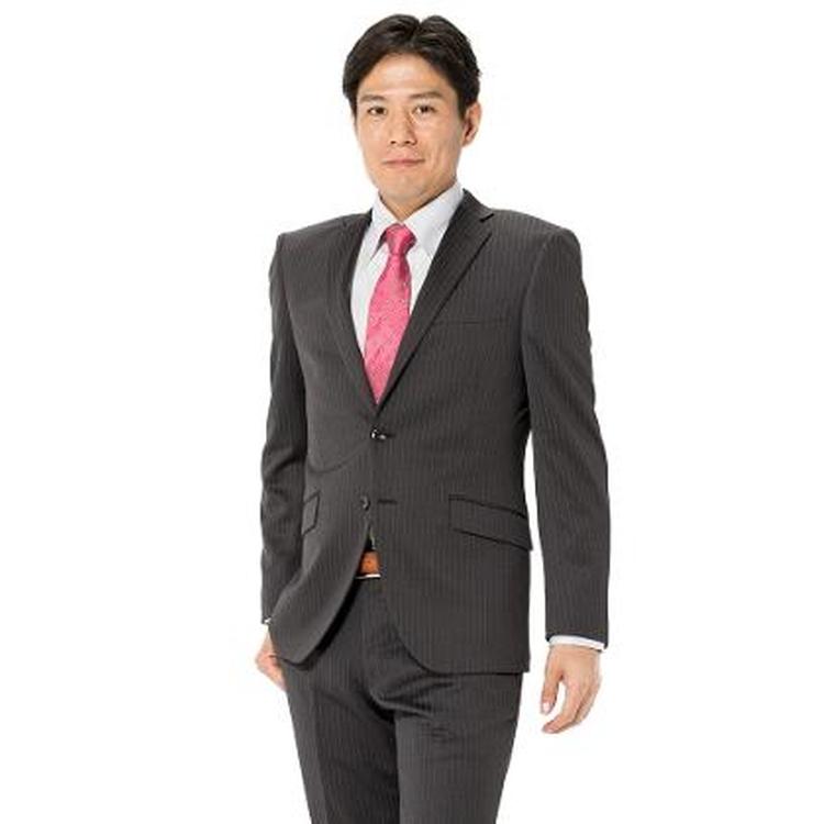 スーツ メンズ 背広 メンズスーツ 2つボタン 2ピース 上下ウォッシャブル ノータック ストレッチ ニット素材 ストライプ グレー 秋冬 ポリエステル混 スリム アンクルパンツ RESPECTNERO ニットスーツ メンズファッション スーツのはるやま