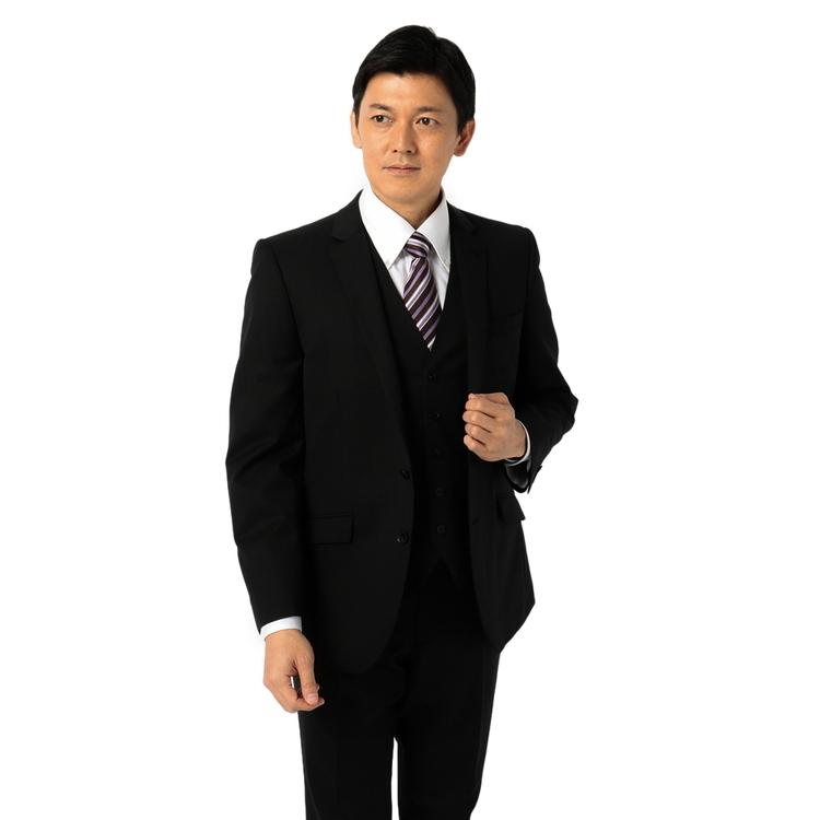 スーツ メンズ 背広 メンズスーツ 2つボタン 3ピース ベスト付 パンツウォッシャブル ノータック ブランド ストライプ ブラック 春夏 ウール混 スリム TETE by TETE HOMME テットオム メンズファッション スーツのはるやま