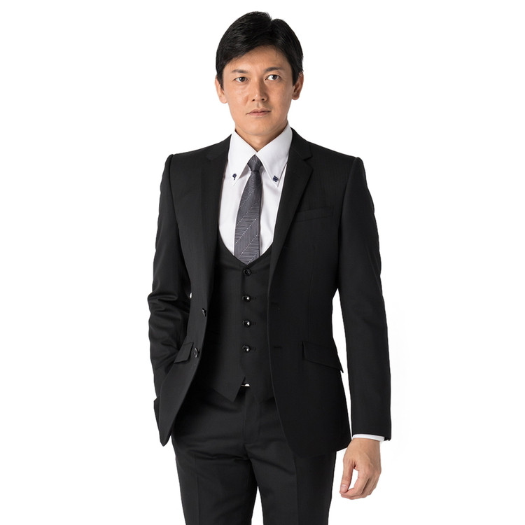 スーツ メンズ 背広 メンズスーツ 2つボタン 3ピース ベスト付 パンツウォッシャブル ノータック ストレッチ ストライプ ブラック 春夏 ウール混 スリム スーパースリム RESPECTNERO リスペクトネロ メンズファッション スーツのはるやま