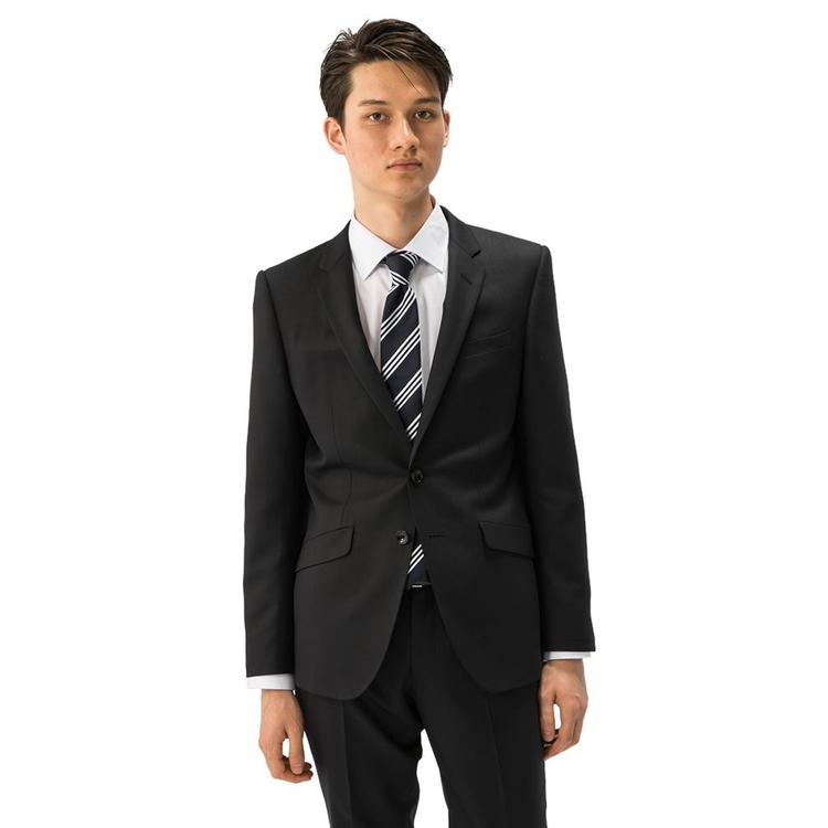 【値下げ】スーツ メンズ 背広 メンズスーツ 2つボタン 2ピース パンツウォッシャブル ノータック ストレッチ ストライプ ブラック 春夏 ウール混 スリム スーパースリム RESPECTNERO リスペクトネロ メンズファッション スーツのはるやま