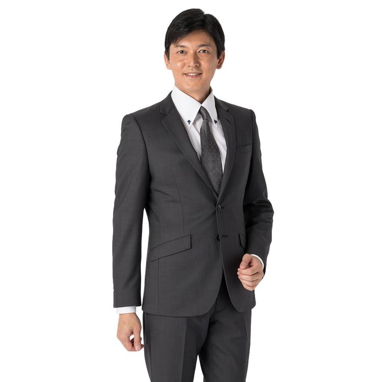 スーツ メンズ 背広 メンズスーツ 2つボタン 2ピース パンツウォッシャブル ノータック ストレッチ 織柄無地 グレー 春夏 ウール混 スリム スーパースリム RESPECTNERO リスペクトネロ メンズファッション スーツのはるやま