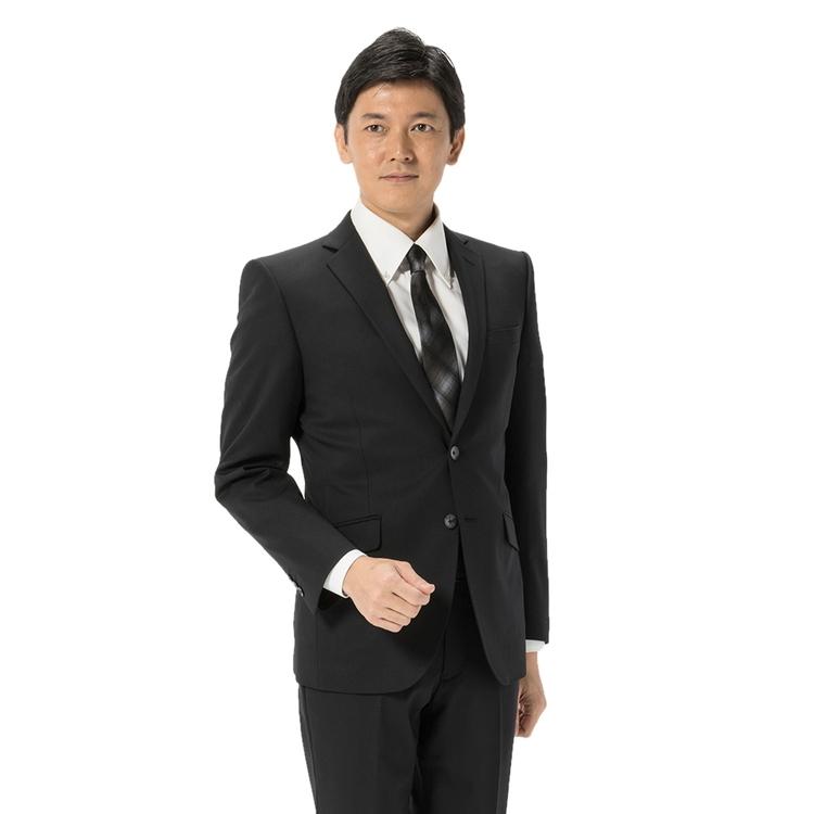 スーツ メンズ 背広 メンズスーツ 2つボタン 2ピース ノータック シャドウストライプ ブラック 通年 ウール混 スリム アンクルパンツ RESPECTNERO リスペクトネロ メンズファッション スーツのはるやま