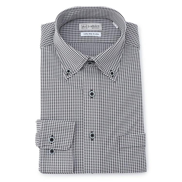 【楽天限定】ワイシャツ 長袖 完全ノーアイロン ストレッチ i-shirt アイシャツ 家庭洗濯専用 吸汗速乾 ニット シロクロ チェック ボタンダウン ニットシャツ yシャツ