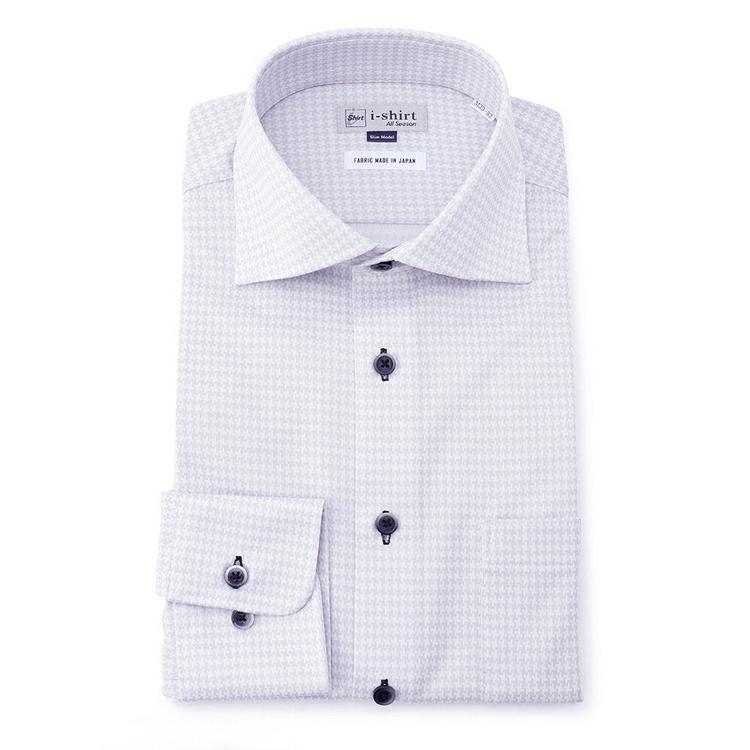ワイシャツ 長袖 完全ノーアイロン ストレッチ i-shirt アイシャツ スリム 家庭洗濯専用 吸汗速乾 ニット グレー 千鳥格子 ワイド ニットシャツ yシャツ