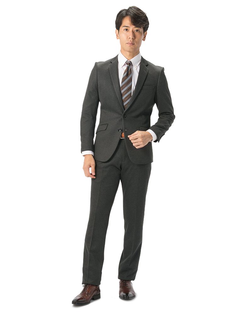 スーツ 2つボタン グレー 小柄 スリム RESPECTNERO ノータック ストレッチ スーパースリム ニットスーツ 上下洗濯可 防シワOXTPkuZi