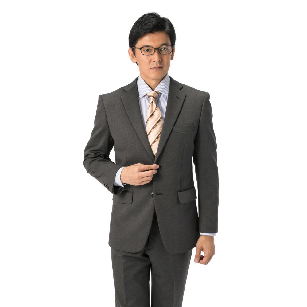 スーツ/2ピース/スタンダード/I.B.S/秋冬/グレー/ストライプ/ニットスーツ/ストレッチ/上下洗濯可/防シワ/