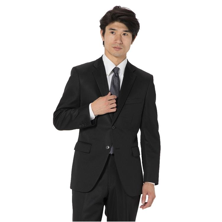 スーツ/2ピース/2つボタン/ノーマル/ニットスーツ/春夏/ブラック/ストライプ/ストレッチ/ストレス対策スーツ