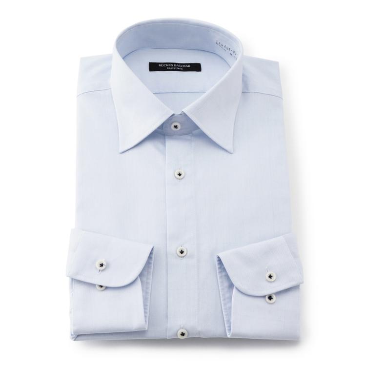 倉庫 ワイシャツ メンズ 長袖 形態安定 チェッ チェック ブルー 超特価 通年生地 ワイド RuckenBaccharBlackface スーツのはるやま 綿素材 スリムシルエット メンズファッション リッケンバッカーブラックフェイス
