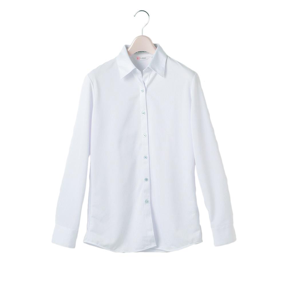 ブラウス 長袖 全品送料無料 レディス 完全ノーアイロン サービス ホワイト レディース アイロンがけ不要 アイシャツ はるやま i-shirt お手入れ簡単 襟型 織柄 定番 ストレッチ生地 シャツ 白 スキッパー オールシーズン ノーアイロン