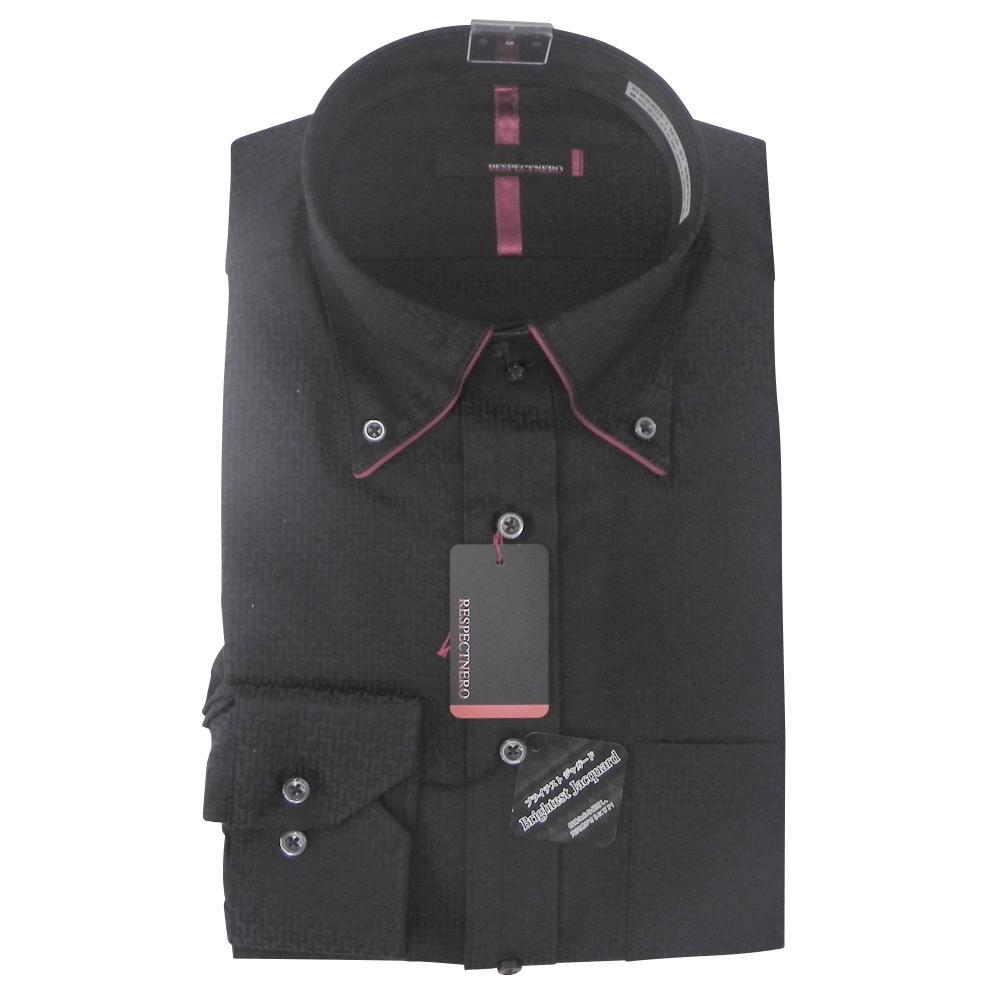 メンズ 長袖ワイシャツ ドゥエボットーニ ワイシャツ 長袖 ボタンダウン ブラック RESPECTNERO スリム 高品質 形態安定 期間限定今なら送料無料 デザイン