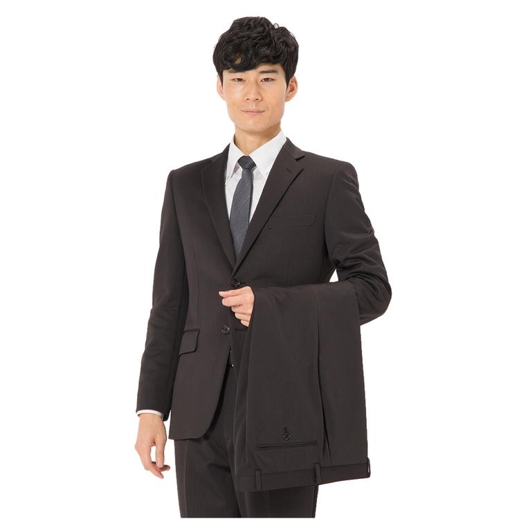 スーツ メンズ 背広 メンズスーツ 2つボタン 2ピース ツーパンツ 上下ウォッシャブル ノータック ストレッチ ニット素材 ストライプ ブラウン 秋冬 ポリエステル スタンダード 健康 phiten ファイテンニットスーツ メンズファッション スーツのはるやま