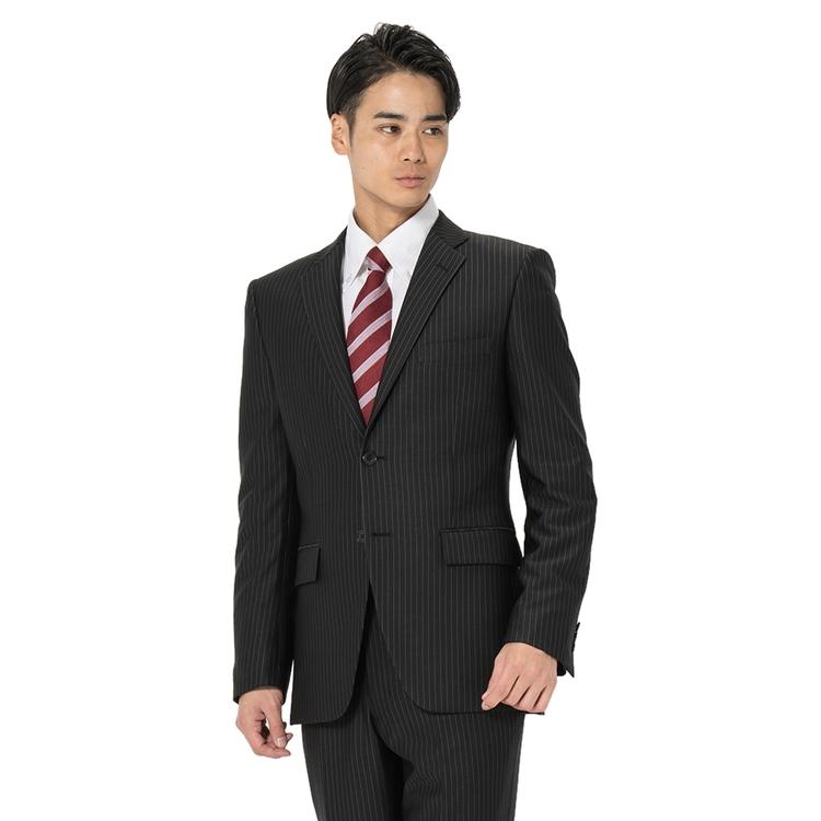 スーツ メンズ 背広 メンズスーツ 2つボタン 2ピース 上下ウォッシャブル ノータック ストレッチ ニット素材 ストライプ ブラック 春夏 ポリエステル スタンダード I.B.S ニットスーツ メンズファッション スーツのはるやま