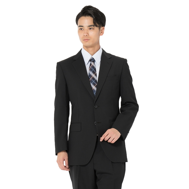 スーツ メンズ 背広 メンズスーツ 2つボタン 2ピース パンツウォッシャブル 防シワ ワンタック ストライプ ブラック 春夏 ウール混 ゆったり REGENTHOUSE リージェントハウス メンズファッション スーツのはるやま