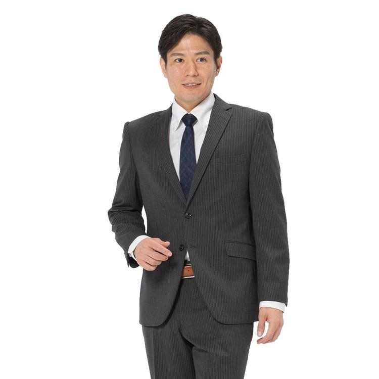 スーツ メンズ 背広 メンズスーツ 2つボタン 2ピース パンツウォッシャブル ノータック ストライプ グレー 秋冬 ウール スリム アンクルパンツ RESPECTNERO リスペクトネロ メンズファッション スーツのはるやま