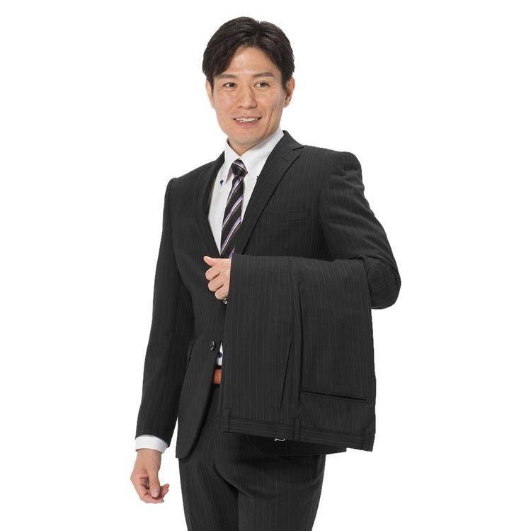 スーツ メンズ 背広 メンズスーツ 2つボタン 2ピース ツーパンツ パンツウォッシャブル ノータック ストライプ ブラック 秋冬 ウール スリム アンクルパンツ RESPECTNERO リスペクトネロ メンズファッション スーツのはるやま