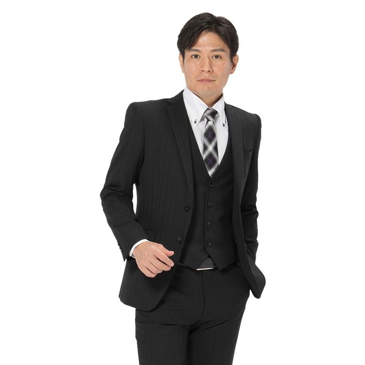 スーツ メンズ 背広 メンズスーツ 2つボタン 3ピース ベスト付 パンツウォッシャブル ノータック ストライプ ブラック 秋冬 ウール スリム アンクルパンツ RESPECTNERO リスペクトネロ メンズファッション スーツのはるやま