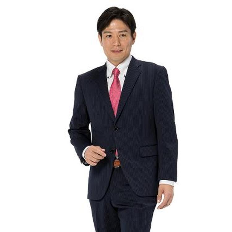 スーツ メンズ 背広 メンズスーツ 2つボタン 2ピース 上下ウォッシャブル ノータック ストレッチ ニット素材 ストライプ ネービー 秋冬 ポリエステル スタンダード I.B.S ニットスーツ メンズファッション スーツのはるやま