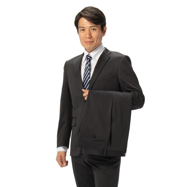 スーツ メンズ 背広 メンズスーツ 2つボタン 2ピース ツーパンツ 上下ウォッシャブル ノータック ストレッチ ニット素材 ストライプ グレー 春夏 ポリエステル スタンダード ハイドロ銀チタン I.B.S ハイドロニットスーツ メンズファッション スーツのはるやま