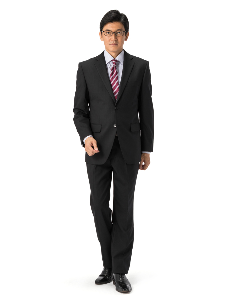 スーツ/2ピース/ブラック/ストライプ/スタンダード/Fusion Club/ノータック/防シワ/ツーパンツ/