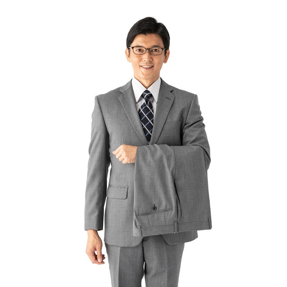 スーツ/2ピース/グレー/無地/スタンダード/Fusion Club/ノータック/防シワ/ツーパンツ/