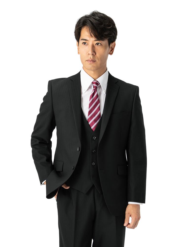 スーツ/3ピース/2つボタン/スリム/RESPECTNERO/ブラック/ストライプ/ストレッチ/アンクルパンツ/パンツ洗濯可/