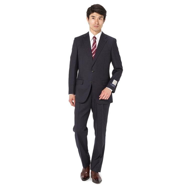 スーツ メンズ 背広 メンズスーツ 2つボタン 2ピース 高級生地 インポート ワンタック ストライプ ネービー 春夏 ウール ゆったり RuckenBaccharEXE リッケンバッカーエグゼ メンズファッション スーツのはるやま