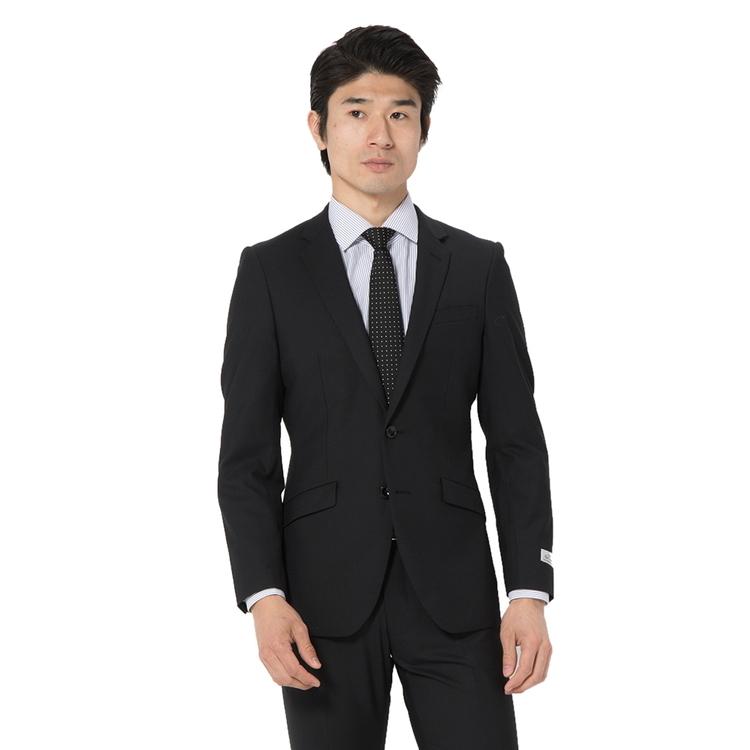 スーツ メンズ 背広 メンズスーツ 2つボタン 2ピース ノータック ストレッチ 小柄 ブラック 春夏 ウール混 スリム スーパースリム RESPECTNERO リスペクトネロ メンズファッション スーツのはるやま