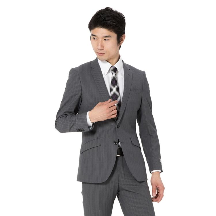 スーツ メンズ 背広 メンズスーツ 2つボタン 2ピース ノータック ストレッチ ストライプ グレー 春夏 ウール混 スリム スーパースリム RESPECTNERO リスペクトネロ メンズファッション スーツのはるやま