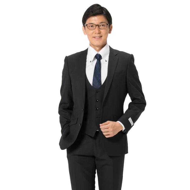 スーツ メンズ 背広 メンズスーツ 2つボタン 3ピース ベスト付 ノータック ストレッチ 織柄無地 ブラック 秋冬 ウール混 スリム スーパースリム RESPECTNERO リスペクトネロ メンズファッション スーツのはるやま