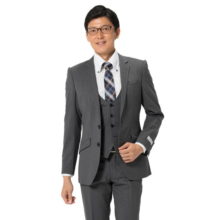 スーツ メンズ 背広 メンズスーツ 2つボタン 3ピース ベスト付 ノータック ストレッチ 織柄無地 グレー 秋冬 ウール混 スリム スーパースリム RESPECTNERO リスペクトネロ メンズファッション スーツのはるやま