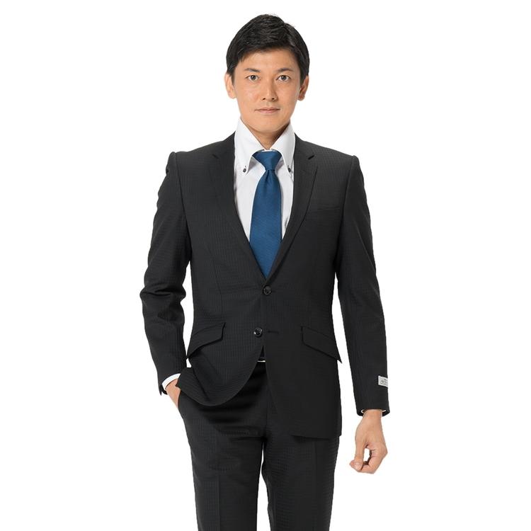 スーツ メンズ 背広 メンズスーツ 2つボタン 2ピース ノータック ストレッチ マイクロチェック ブラック 秋冬 ウール混 スリム スーパースリム RESPECTNERO リスペクトネロ メンズファッション スーツのはるやま